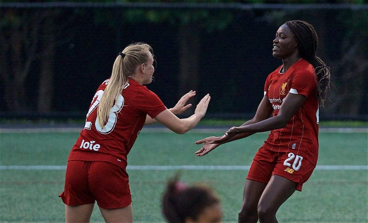 Liverpool's Rinsola Babajide (R) celebrates scoring the fifth goal during a friendly match between Liverpool FC Women and Metropolitan Conference All Stars at Jordan Field at the Harvard Stadium on day seven of the club's pre-season tour of America. (Pic by David Rawcliffe/Propaganda)