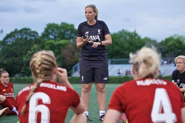 BOSTON, MASSACHUSETTS, USA - Monday, July 22, 2019: Liverpool's manager Vicky Jepson speaks to her players at half-time during a friendly match between Liverpool FC Women and Metropolitan Conference All Stars at Jordan Field at the Harvard Stadium on day seven of the club's pre-season tour of America. Liverpool won 6-0. (Pic by David Rawcliffe/Propaganda)