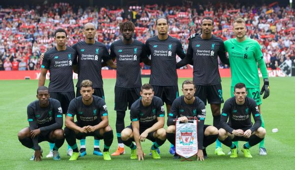 EDINBURGH, SCOTLAND - Sunday, July 28, 2019: Liverpool players line-up for a team group photograph before a pre-season friendly match between Liverpool FC and SSC Napoli at Murrayfield Stadium. (Pic by David Rawcliffe/Propaganda)