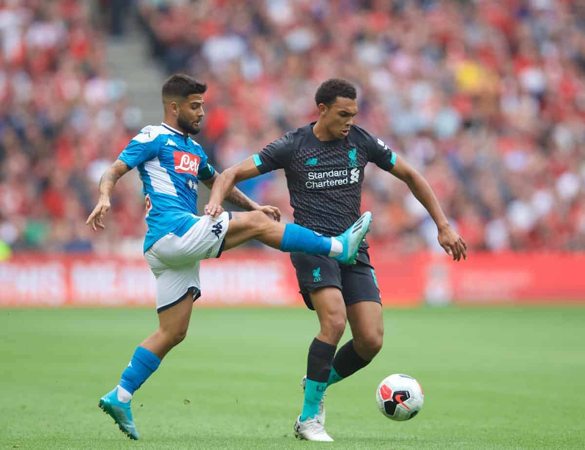 EDINBURGH, SCOTLAND - Sunday, July 28, 2019: Liverpool's Trent Alexander-Arnold during a pre-season friendly match between Liverpool FC and SSC Napoli at Murrayfield Stadium. (Pic by David Rawcliffe/Propaganda)