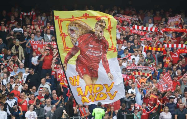 EDINBURGH, SCOTLAND - Sunday, July 28, 2019: Liverpool supporters with a flag featuring Andy Robertson before a pre-season friendly match between Liverpool FC and SSC Napoli at Murrayfield Stadium. (Pic by David Rawcliffe/Propaganda)
