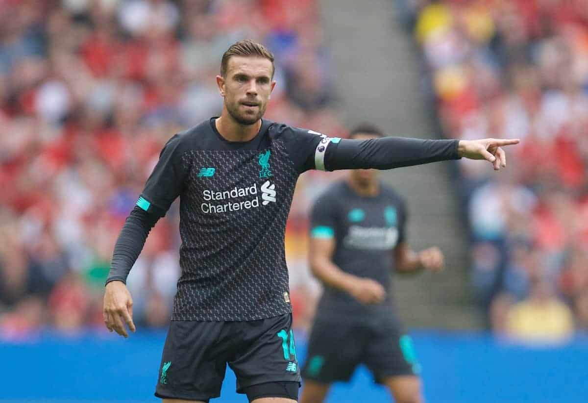 EDINBURGH, SCOTLAND - Sunday, July 28, 2019: Liverpool's captain Jordan Henderson during a pre-season friendly match between Liverpool FC and SSC Napoli at Murrayfield Stadium. (Pic by David Rawcliffe/Propaganda)