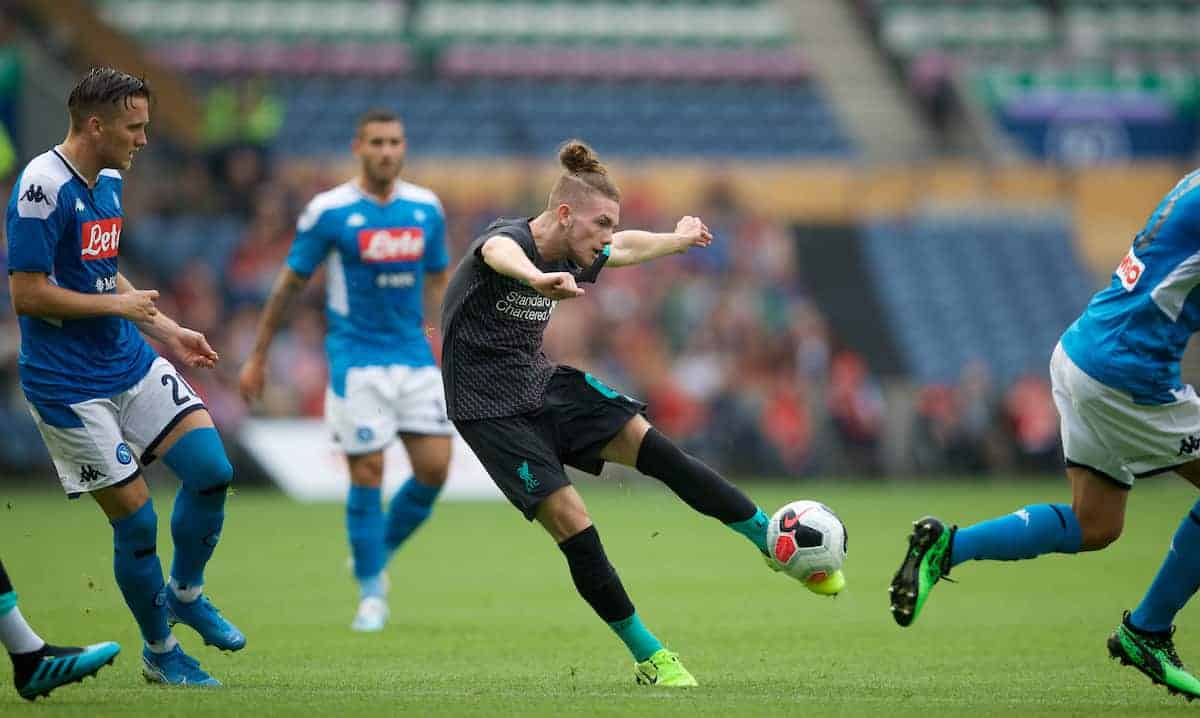 EDINBURGH, SCOTLAND - Sunday, July 28, 2019: Liverpool's Harvey Elliott shoots during a pre-season friendly match between Liverpool FC and SSC Napoli at Murrayfield Stadium. (Pic by David Rawcliffe/Propaganda)