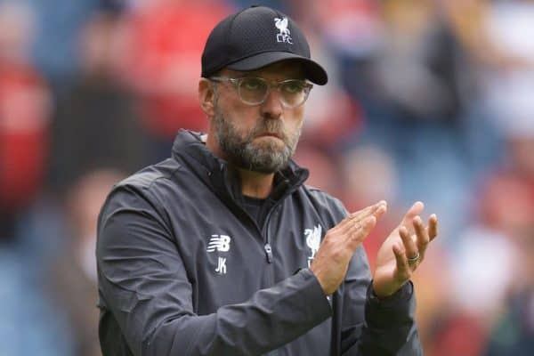 EDINBURGH, SCOTLAND - Sunday, July 28, 2019: Liverpool's manager Jürgen Klopp applaud the supporters after a pre-season friendly match between Liverpool FC and SSC Napoli at Murrayfield Stadium. Liverpool lost 3-0. (Pic by David Rawcliffe/Propaganda)