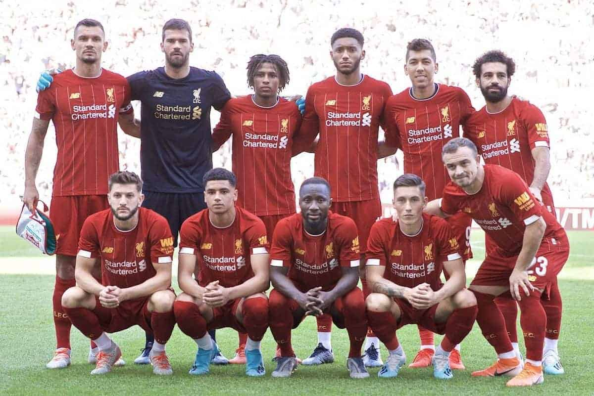 GENEVA, SWITZERLAND - Wednesday, July 31, 2019: Liverpool's players line-up for a team group photograph before a pre-season friendly match between Liverpool FC and Olympique Lyonnais at Stade de Genève. Front row L-R: captain Dejan Lovren, goalkeeper Alisson Becker, Yasser Larouci, Joe Gomez, Roberto Firmino, Mohamed Salah. Front row L-R: Adam Lallana, Ki-Jana Hoever, Naby Keita, Harry Wilson, Xherdan Shaqiri. (Pic by David Rawcliffe/Propaganda)