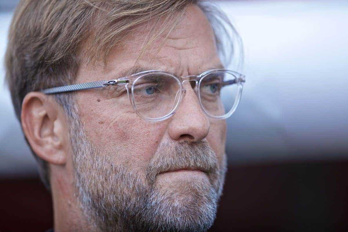 GENEVA, SWITZERLAND - Wednesday, July 31, 2019: Liverpool's manager Jürgen Klopp before a pre-season friendly match between Liverpool FC and Olympique Lyonnais at Stade de Genève. (Pic by David Rawcliffe/Propaganda)