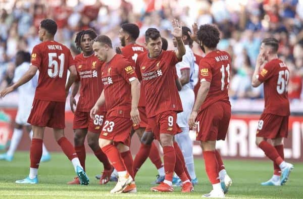 Liverpool's Roberto Firmino celebrates scoring the first equalising goal during a pre-season friendly match between Liverpool FC and Olympique Lyonnais at Stade de Genève. (Pic by David Rawcliffe/Propaganda)