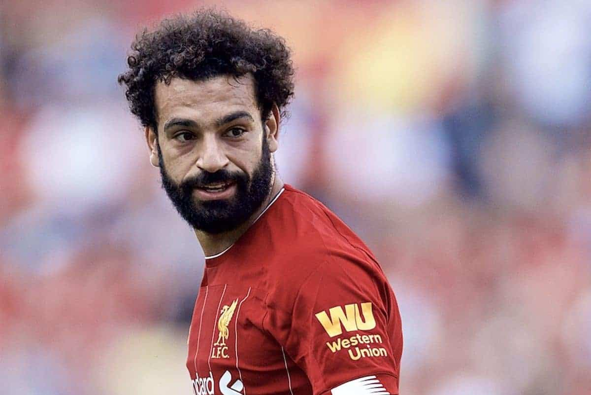 GENEVA, SWITZERLAND - Wednesday, July 31, 2019: Liverpool's Mohamed Salah during a pre-season friendly match between Liverpool FC and Olympique Lyonnais at Stade de Genève. (Pic by David Rawcliffe/Propaganda)