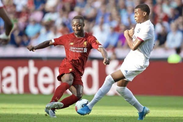 GENEVA, SWITZERLAND - Wednesday, July 31, 2019: Liverpool's Naby Keita during a pre-season friendly match between Liverpool FC and Olympique Lyonnais at Stade de Genève. (Pic by David Rawcliffe/Propaganda)