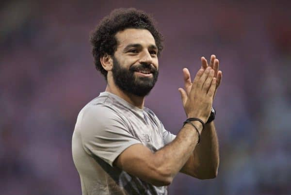 GENEVA, SWITZERLAND - Wednesday, July 31, 2019: Liverpool's Mohamed Salah applauds the supporters after a pre-season friendly match between Liverpool FC and Olympique Lyonnais at Stade de Genève. Liverpool won 3-1. (Pic by David Rawcliffe/Propaganda)