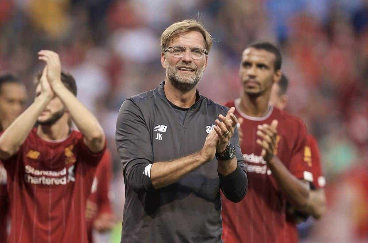 GENEVA, SWITZERLAND - Wednesday, July 31, 2019: Liverpool's manager Jürgen Klopp applauds the supporters after a pre-season friendly match between Liverpool FC and Olympique Lyonnais at Stade de Genève. Liverpool won 3-1. (Pic by David Rawcliffe/Propaganda)