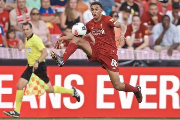 GENEVA, SWITZERLAND - Wednesday, July 31, 2019: Liverpool's Trent Alexander-Arnold during a pre-season friendly match between Liverpool FC and Olympique Lyonnais at Stade de Genève. (Pic by David Rawcliffe/Propaganda)