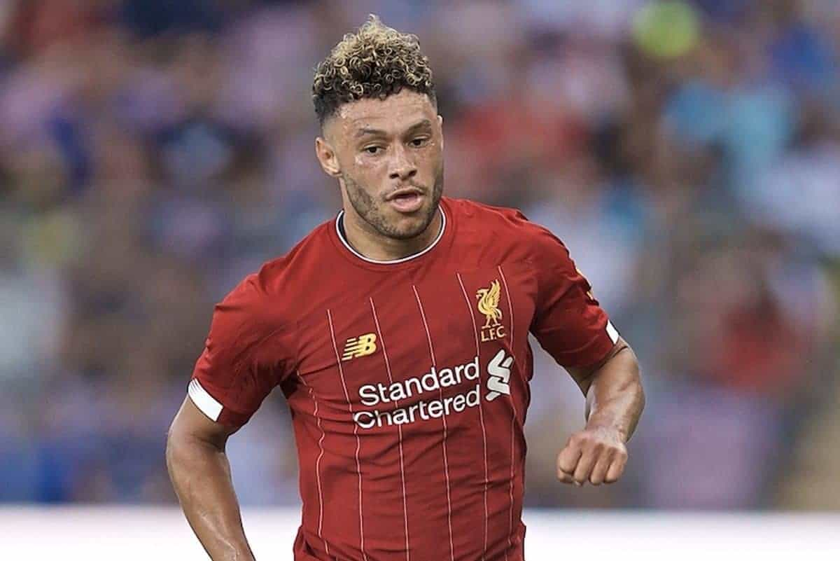 GENEVA, SWITZERLAND - Wednesday, July 31, 2019: Liverpool's Alex Oxlade-Chamberlain during a pre-season friendly match between Liverpool FC and Olympique Lyonnais at Stade de Genève. (Pic by David Rawcliffe/Propaganda)