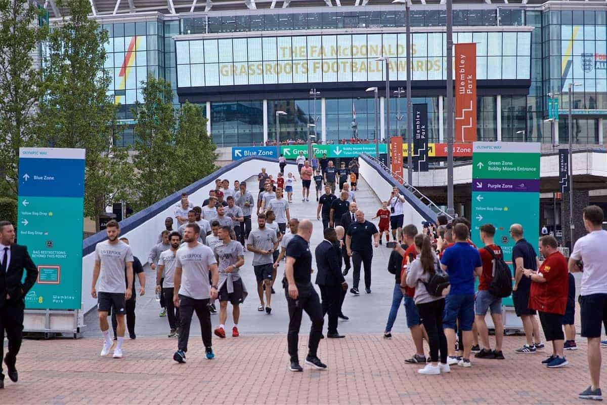 LONDON, ENGLAND - Sunday, August 4, 2019: Liverpool players take a walk on Olympic Way (formerly Wembley Way) before the FA Community Shield match between Manchester City FC and Liverpool FC at Wembley Stadium. (Pic by David Rawcliffe/Propaganda)