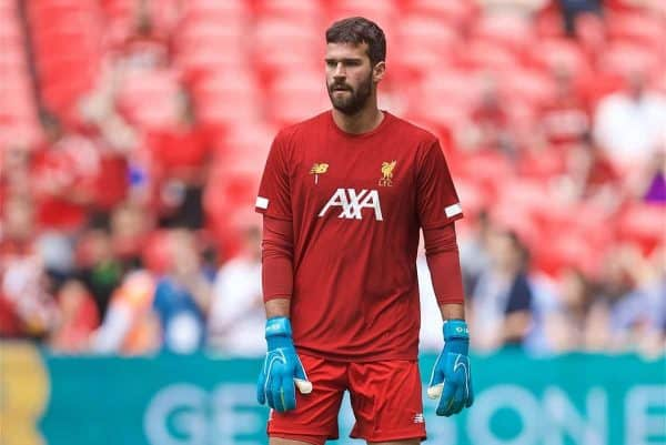 LONDON, ENGLAND - Sunday, August 4, 2019: Liverpool's goalkeeper Alisson Becker during the pre-match warm-up before the FA Community Shield match between Manchester City FC and Liverpool FC at Wembley Stadium. (Pic by David Rawcliffe/Propaganda)