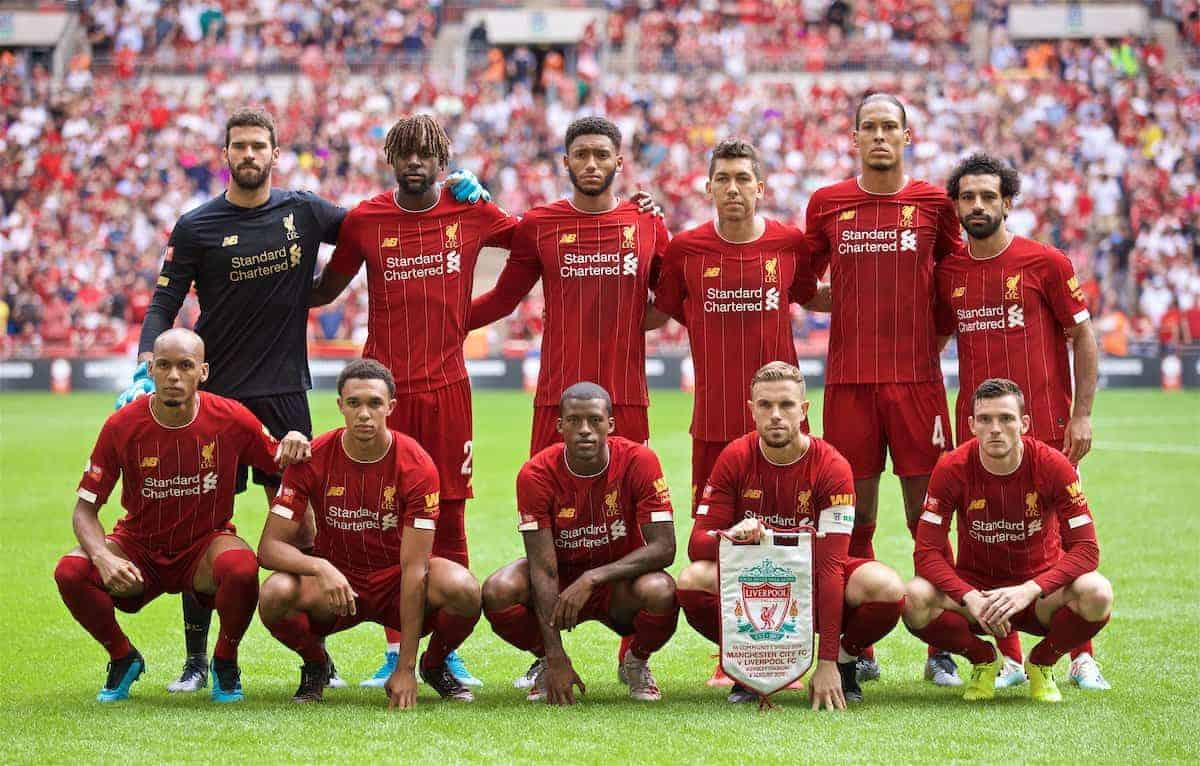 LONDON, ENGLAND - Sunday, August 4, 2019: Liverpool's players line-up for a team group photograph before the FA Community Shield match between Manchester City FC and Liverpool FC at Wembley Stadium. (Pic by David Rawcliffe/Propaganda)