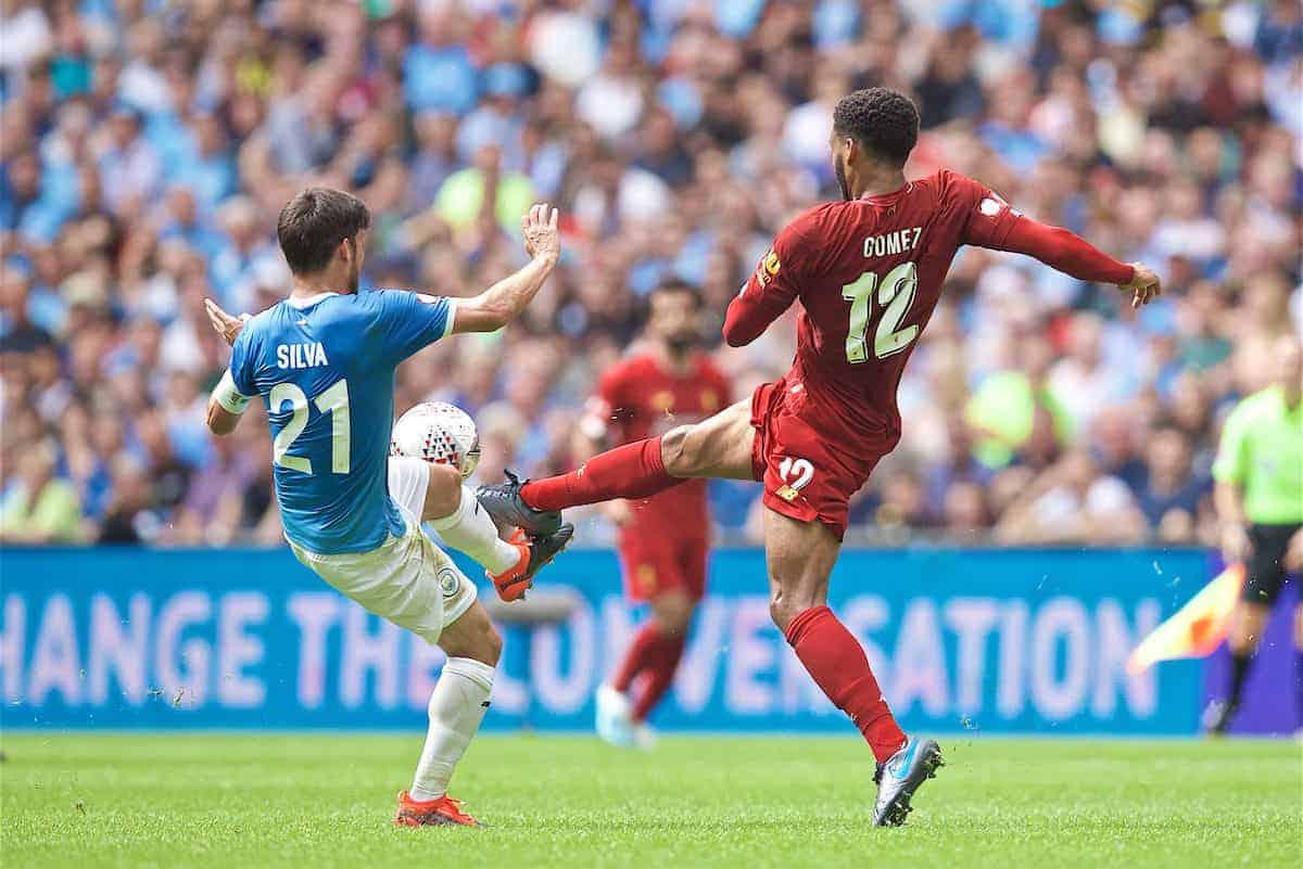LONDON, ENGLAND - Sunday, August 4, 2019: Liverpool's Joe Gomez (R) tackles Manchester City's David Silva during the FA Community Shield match between Manchester City FC and Liverpool FC at Wembley Stadium. (Pic by David Rawcliffe/Propaganda)
