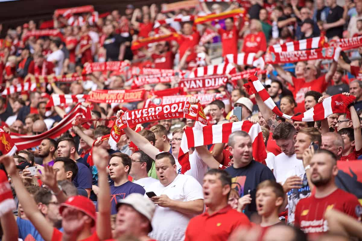 LONDON, ENGLAND - Sunday, August 4, 2019: Liverpool supporters during the FA Community Shield match between Manchester City FC and Liverpool FC at Wembley Stadium. (Pic by David Rawcliffe/Propaganda)