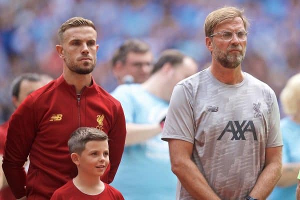 LONDON, ENGLAND - Sunday, August 4, 2019: Liverpool's captain Jordan Henderson (L) and manager Jürgen Klopp before the FA Community Shield match between Manchester City FC and Liverpool FC at Wembley Stadium. (Pic by David Rawcliffe/Propaganda)