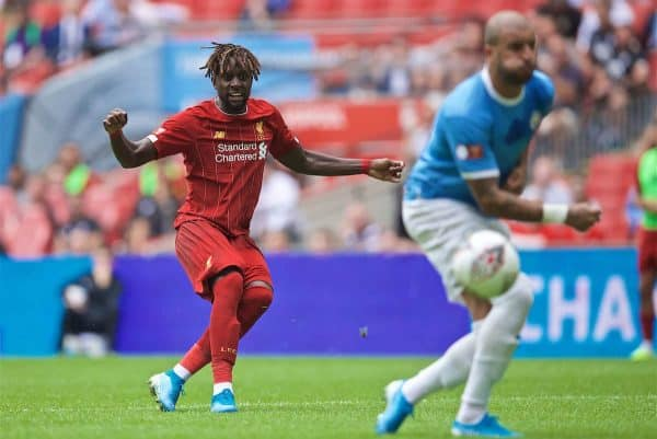 LONDON, ENGLAND - Sunday, August 4, 2019: Liverpool's Divock Origi shoots during the FA Community Shield match between Manchester City FC and Liverpool FC at Wembley Stadium. (Pic by David Rawcliffe/Propaganda)