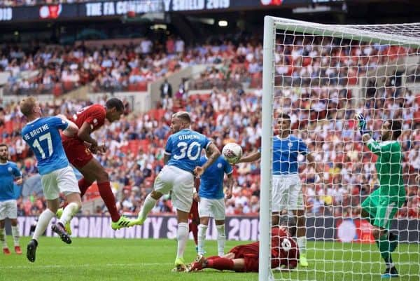 LONDON, ENGLAND - Sunday, August 4, 2019: Liverpool's Joel Matip scores the first equalising goal during the FA Community Shield match between Manchester City FC and Liverpool FC at Wembley Stadium. (Pic by David Rawcliffe/Propaganda)