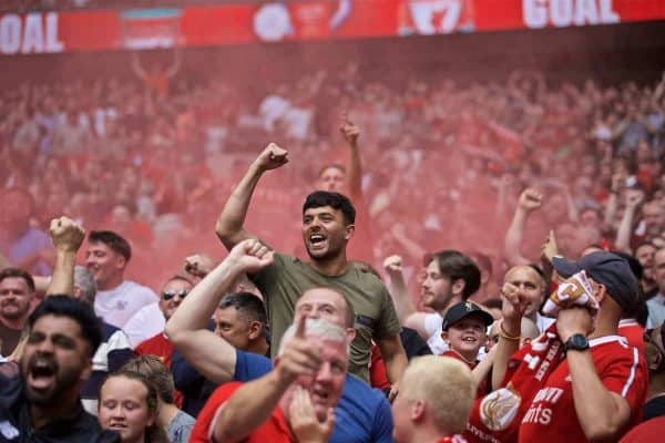 LONDON, ENGLAND - Sunday, August 4, 2019: Liverpool supporters celebrate the first equalising goal during the FA Community Shield match between Manchester City FC and Liverpool FC at Wembley Stadium. (Pic by David Rawcliffe/Propaganda)