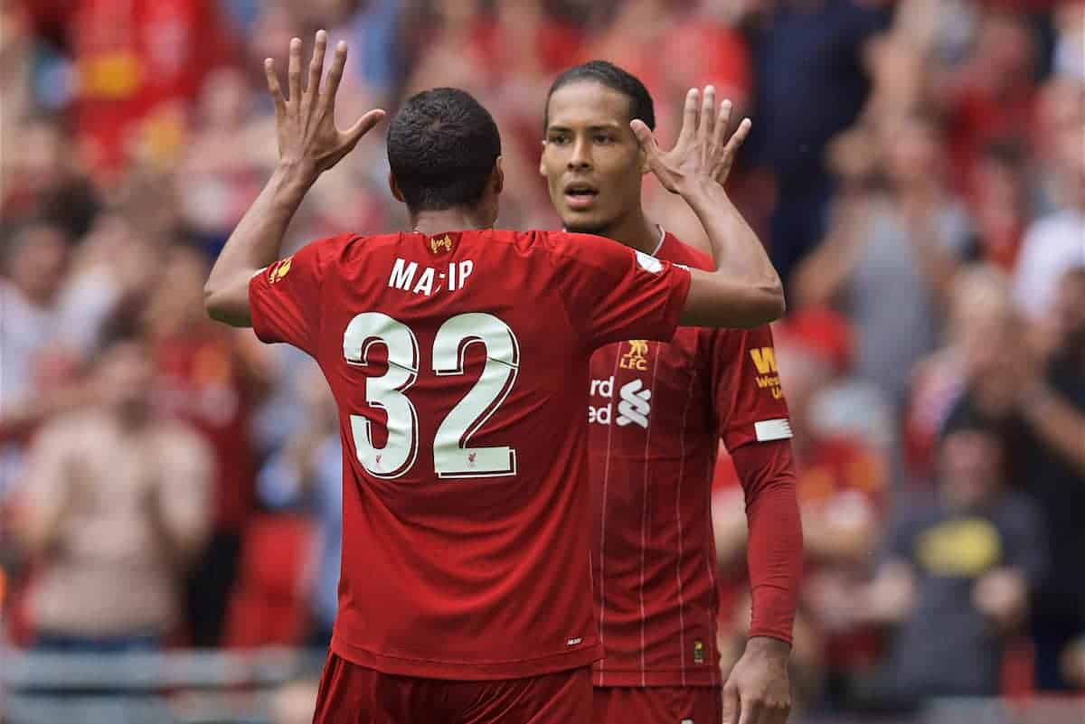 LONDON, ENGLAND - Sunday, August 4, 2019: Liverpool's Joel Matip celebrates scoring the first equalising goal with team-mate Virgil van Dijk during the FA Community Shield match between Manchester City FC and Liverpool FC at Wembley Stadium. (Pic by David Rawcliffe/Propaganda)