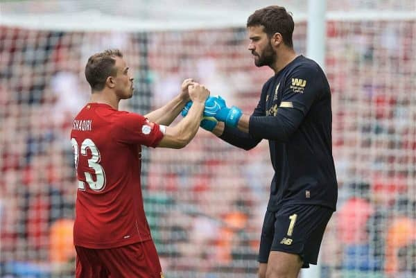 LONDON, ENGLAND - Sunday, August 4, 2019: Liverpool's Xherdan Shaqiri and goalkeeper Alisson Becker fist pump after the opening penalty kick of the shoot out during the FA Community Shield match between Manchester City FC and Liverpool FC at Wembley Stadium. Manchester City won 5-4 on penalties after a 1-1 draw. (Pic by David Rawcliffe/Propaganda)