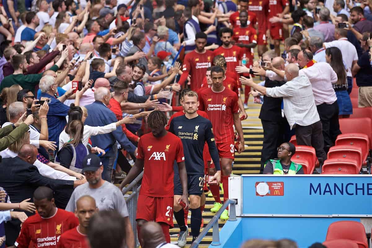 LONDON, ENGLAND - Sunday, August 4, 2019: Liverpool's Divock Origi, goalkeeper Simon Mignolet and Joel Matip walk back down the steps after picking up their runners-up medals after the penalty shoot out to decide the FA Community Shield match between Manchester City FC and Liverpool FC at Wembley Stadium. Manchester City won 5-4 on penalties after a 1-1 draw. (Pic by David Rawcliffe/Propaganda)