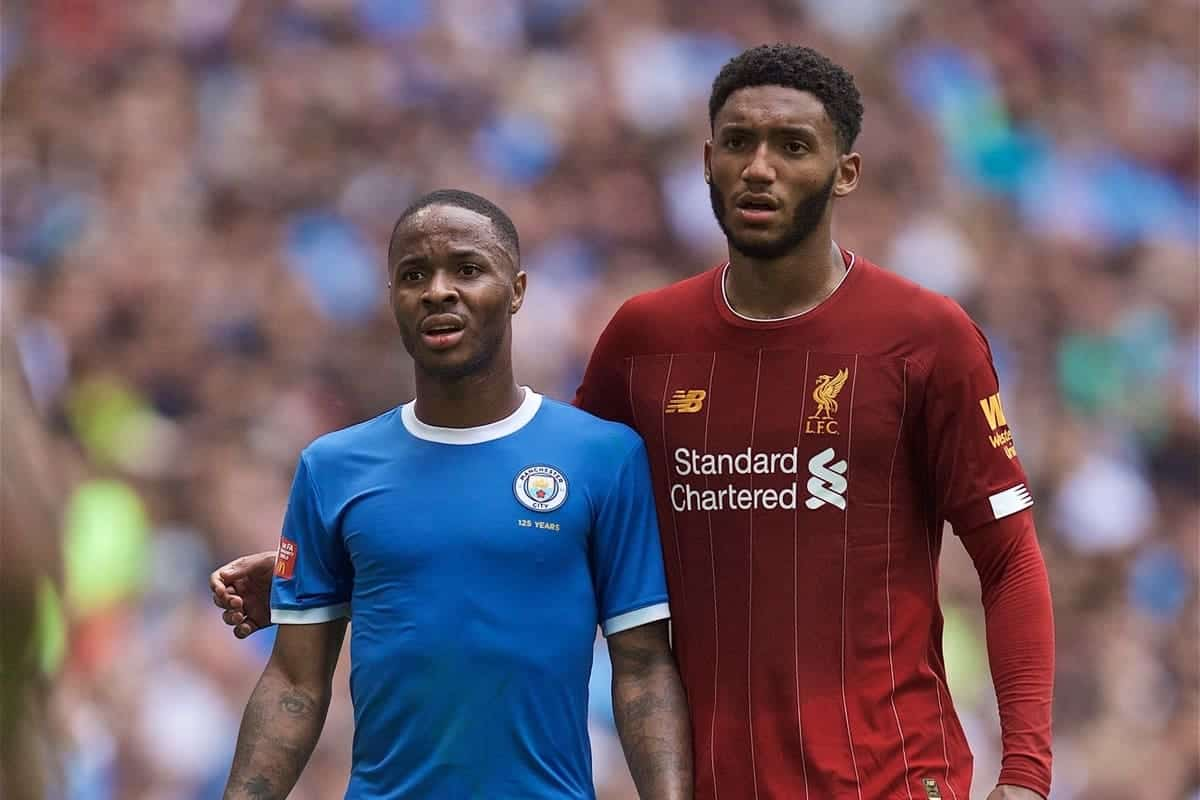 LONDON, ENGLAND - Sunday, August 4, 2019: Liverpool's Joe Gomez (R) and Manchester City's Raheem Sterling during the FA Community Shield match between Manchester City FC and Liverpool FC at Wembley Stadium. (Pic by David Rawcliffe/Propaganda)