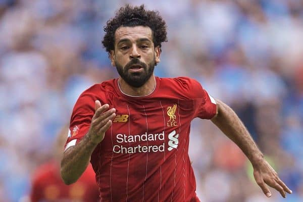 LONDON, ENGLAND - Sunday, August 4, 2019: Liverpool's Mohamed Salah during the FA Community Shield match between Manchester City FC and Liverpool FC at Wembley Stadium. (Pic by David Rawcliffe/Propaganda)