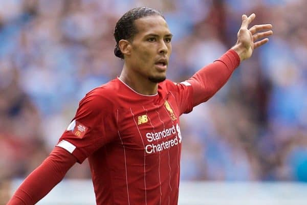 LONDON, ENGLAND - Sunday, August 4, 2019: Liverpool's Virgil van Dijk during the FA Community Shield match between Manchester City FC and Liverpool FC at Wembley Stadium. (Pic by David Rawcliffe/Propaganda)