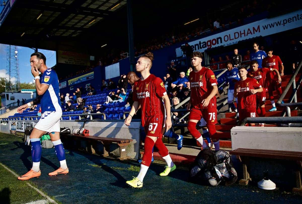 OLDHAM, ENGLAND - Wednesday, August 7, 2019: Liverpool's Harvey Elliot walks out to make his debut during the English Football League Trophy Northern Group B match between Oldham Athletic AFC and Liverpool FC at Boundary Park. (Pic by David Rawcliffe/Propaganda)