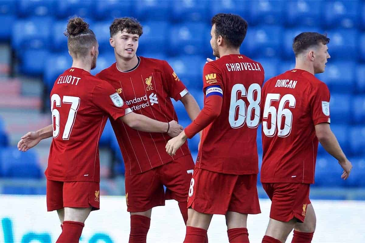 OLDHAM, ENGLAND - Wednesday, August 7, 2019: Liverpool's Neco Williams (2nd L) celebrates scoring the first goal with team-mates Harvey Elliott (L) and Pedro Chirivella (R) during the English Football League Trophy Northern Group B match between Oldham Athletic AFC and Liverpool FC at Boundary Park. (Pic by David Rawcliffe/Propaganda)