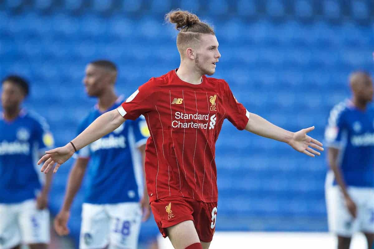 OLDHAM, ENGLAND - Wednesday, August 7, 2019: Liverpool's Harvey Elliott celebrates after scoring the second goal to equalise the score at 2-2 during the English Football League Trophy Northern Group B match between Oldham Athletic AFC and Liverpool FC at Boundary Park. (Pic by David Rawcliffe/Propaganda)