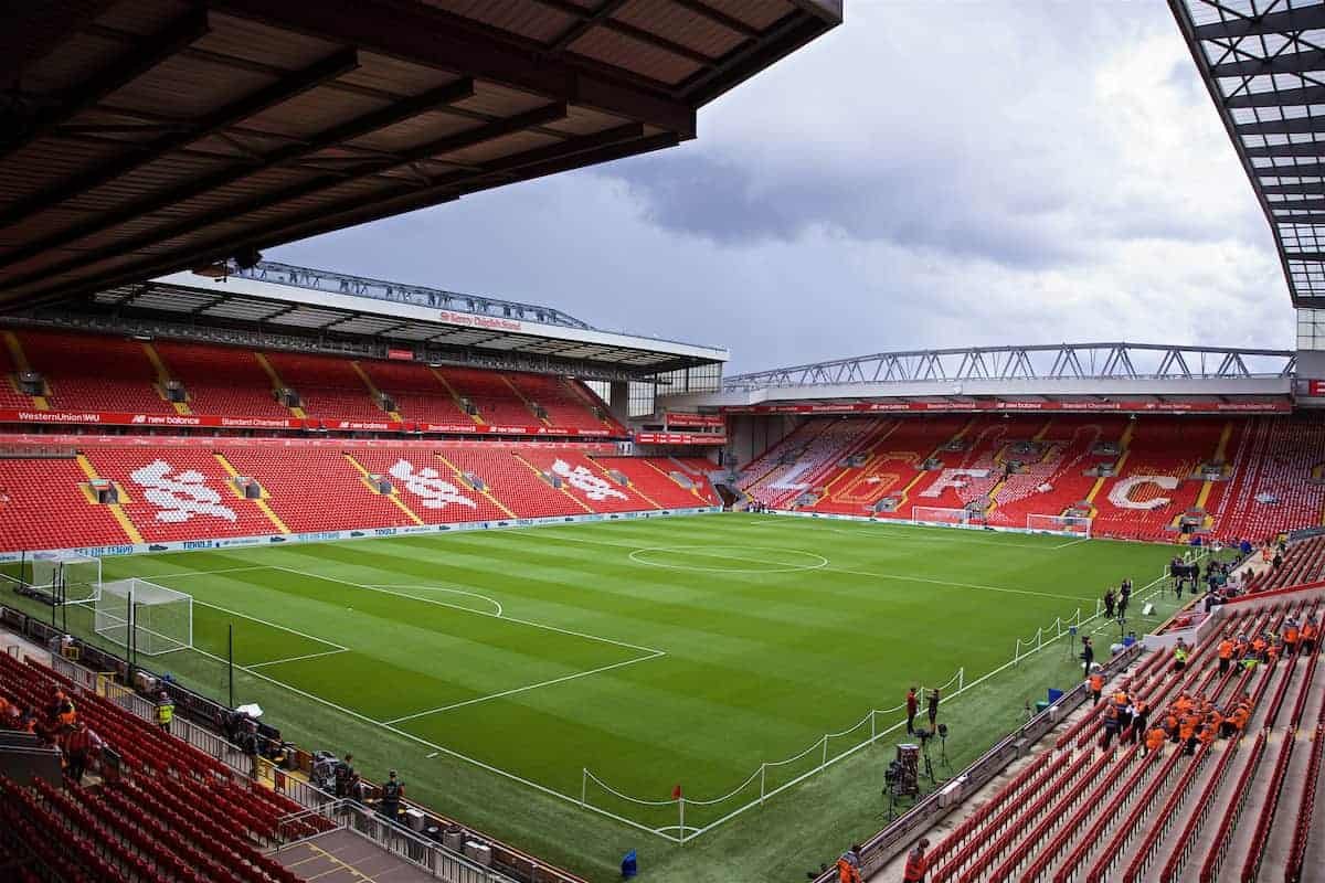 LIVERPOOL, ENGLAND - Friday, August 9, 2019: A mosaic on the Spion Kop featuring an image of the European Cup and the number six to celebrate Liverpool being crowned Champions of Europe for the sixth after winning the Champions League last season, pictured before the opening FA Premier League match of the season between Liverpool FC and Norwich City FC at Anfield. (Pic by David Rawcliffe/Propaganda)