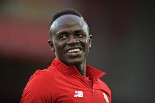 LIVERPOOL, ENGLAND - Friday, August 9, 2019: Liverpool's Sadio Mane during the pre-match warm-up before the opening FA Premier League match of the season between Liverpool FC and Norwich City FC at Anfield. (Pic by David Rawcliffe/Propaganda)