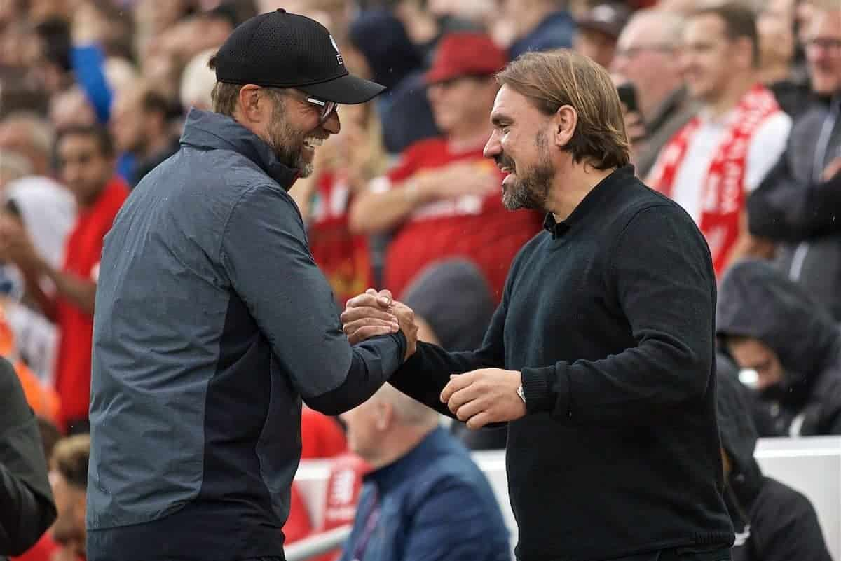LIVERPOOL, ENGLAND - Friday, August 9, 2019: Liverpool's manager Jürgen Klopp and Norwich City's head coach Daniel Farke during the opening FA Premier League match of the season between Liverpool FC and Norwich City FC at Anfield. (Pic by David Rawcliffe/Propaganda)
