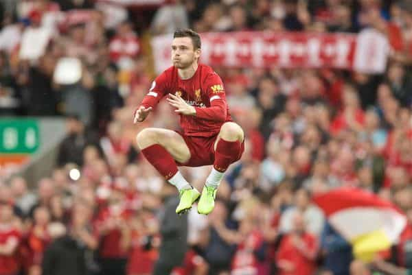 LIVERPOOL, ENGLAND - Friday, August 9, 2019: Liverpool's Andy Robertson before the opening FA Premier League match of the season between Liverpool FC and Norwich City FC at Anfield. (Pic by David Rawcliffe/Propaganda)