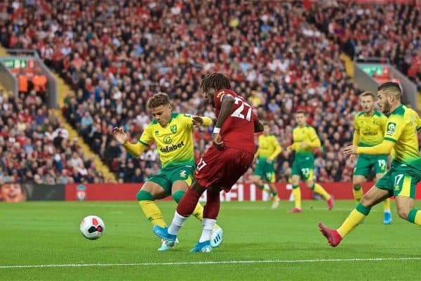 LIVERPOOL, ENGLAND - Friday, August 9, 2019: Liverpool's Divock Origi crosses the ball to force the opening goal, an own goal, during the opening FA Premier League match of the season between Liverpool FC and Norwich City FC at Anfield. (Pic by David Rawcliffe/Propaganda)
