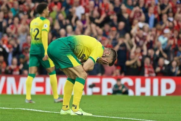 LIVERPOOL, ENGLAND - Friday, August 9, 2019: Norwich City's Grant Hanley reacts after scoring an own goal during the opening FA Premier League match of the season between Liverpool FC and Norwich City FC at Anfield. (Pic by David Rawcliffe/Propaganda)