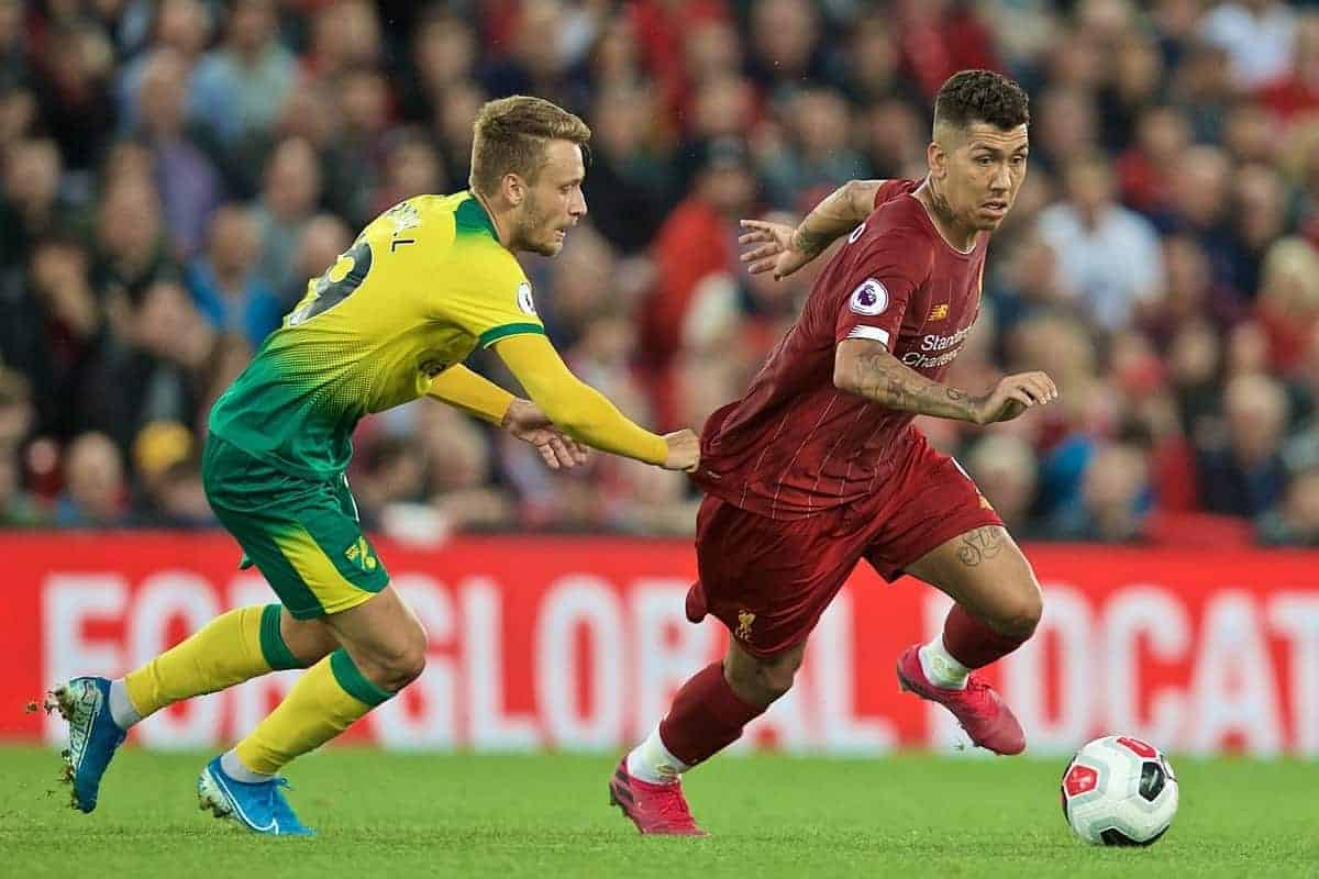 LIVERPOOL, ENGLAND - Friday, August 9, 2019: Liverpool's Roberto Firmino during the opening FA Premier League match of the season between Liverpool FC and Norwich City FC at Anfield. (Pic by David Rawcliffe/Propaganda)