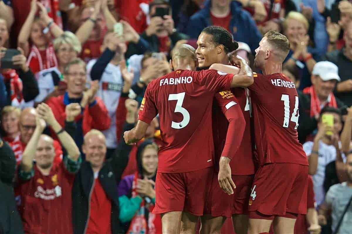 LIVERPOOL, ENGLAND - Friday, August 9, 2019: Liverpool's Virgil van Dijk celebrates scoring the third goal during the opening FA Premier League match of the season between Liverpool FC and Norwich City FC at Anfield. (Pic by David Rawcliffe/Propaganda)