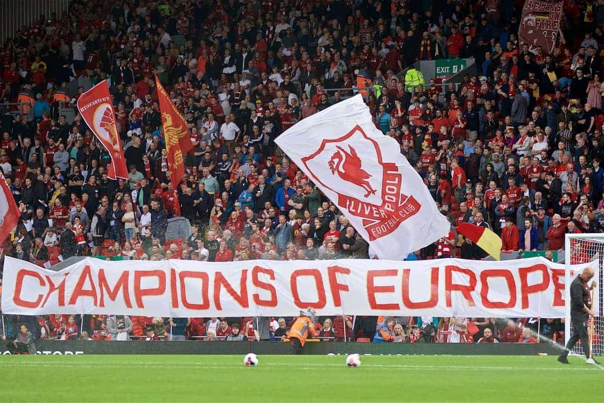 LIVERPOOL, ENGLAND - Friday, August 9, 2019: Liverpool supporters' banner 'Champions of Europe' on the Spion Kop before the opening FA Premier League match of the season between Liverpool FC and Norwich City FC at Anfield. (Pic by David Rawcliffe/Propaganda)