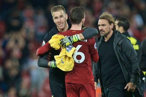 LIVERPOOL, ENGLAND - Friday, August 9, 2019: Liverpool's goalkeeper Adrián San Miguel del Castillo and Andy Robertson after the opening FA Premier League match of the season between Liverpool FC and Norwich City FC at Anfield. Liverpool won 4-1. (Pic by David Rawcliffe/Propaganda)