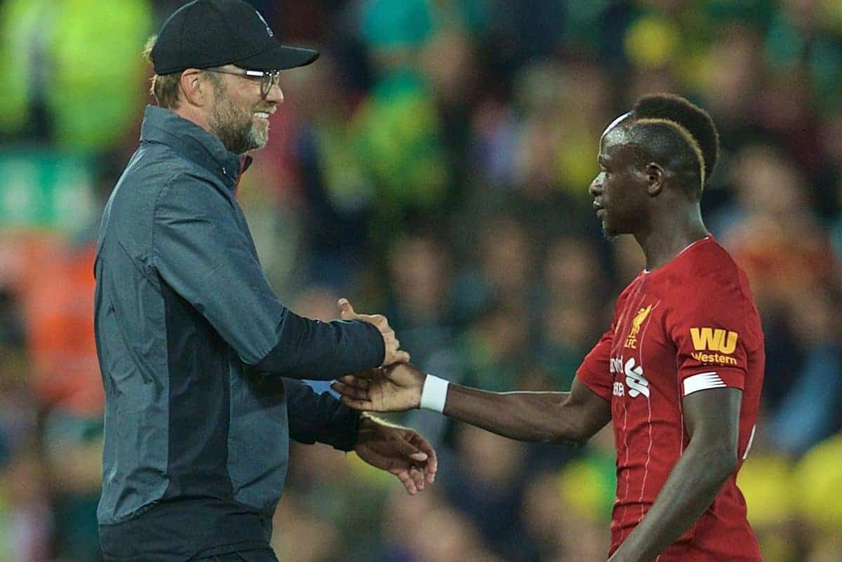 LIVERPOOL, ENGLAND - Friday, August 9, 2019: Liverpool's manager Jürgen Klopp (L) and Sadio Mane after the opening FA Premier League match of the season between Liverpool FC and Norwich City FC at Anfield. Liverpool won 4-1. (Pic by David Rawcliffe/Propaganda)