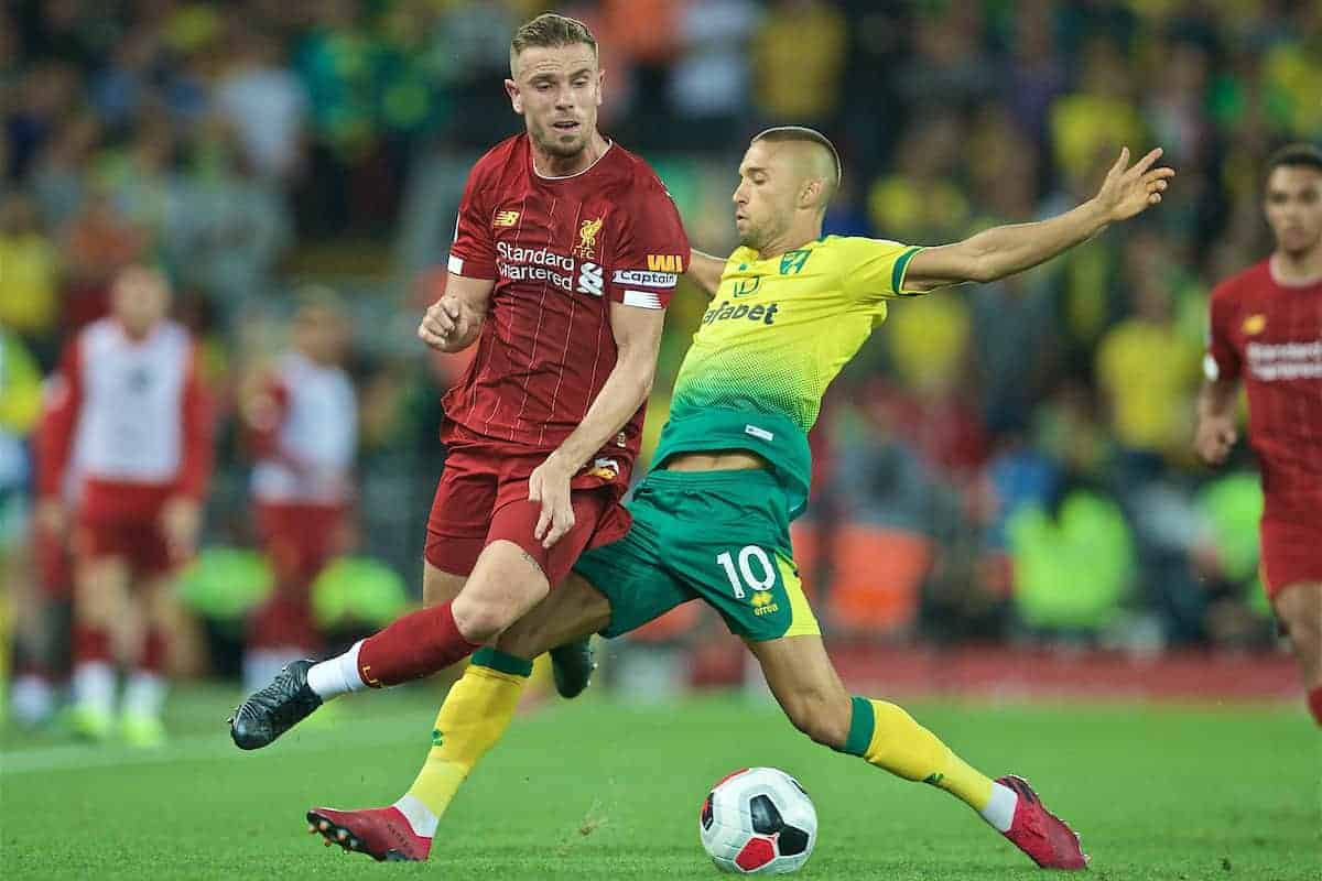 LIVERPOOL, ENGLAND - Friday, August 9, 2019: Liverpool's captain Jordan Henderson is tackled by Norwich City's Moritz Leitner (R) during the opening FA Premier League match of the season between Liverpool FC and Norwich City FC at Anfield. (Pic by David Rawcliffe/Propaganda)