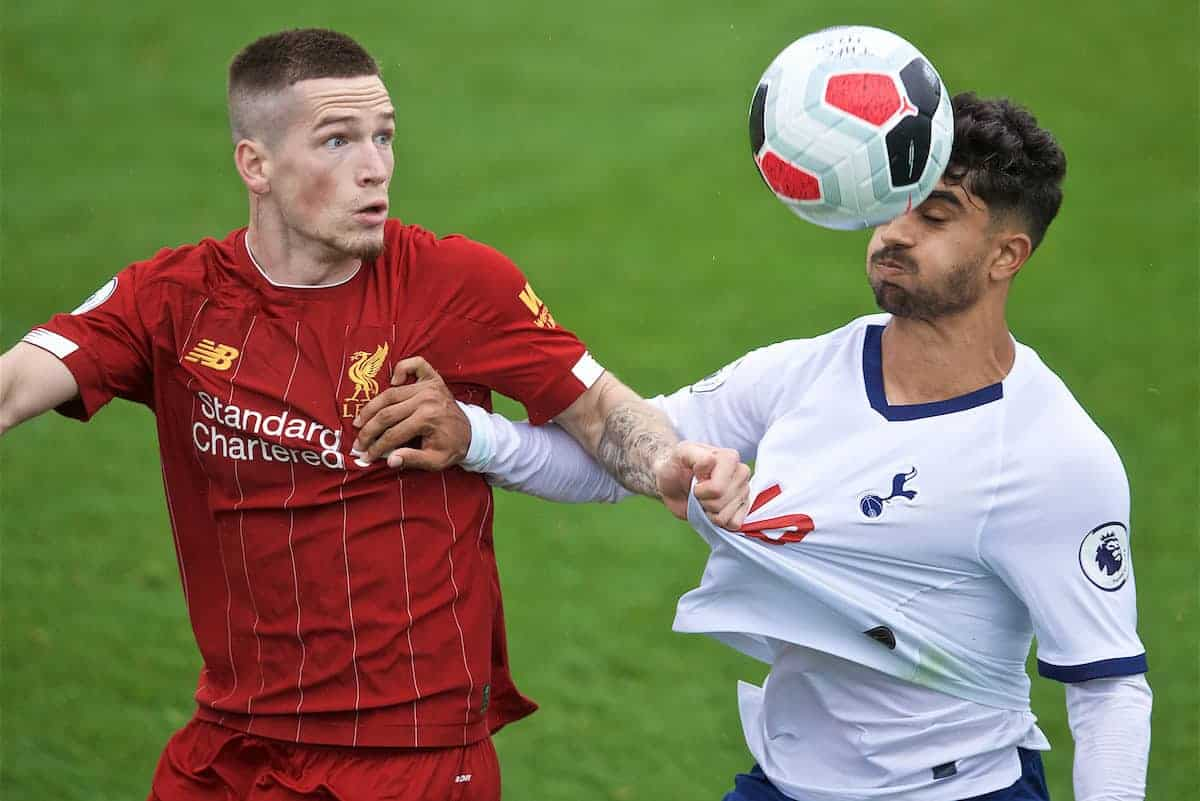 KIRKBY, ENGLAND - Saturday, August 10, 2019: Liverpool's Ryan Kent (L) and Tottenham Hotspur's Dilan Markandey (R) during the Under-23 FA Premier League 2 Division 1 match between Liverpool FC and Tottenham Hotspur FC at the Academy. (Pic by David Rawcliffe/Propaganda)