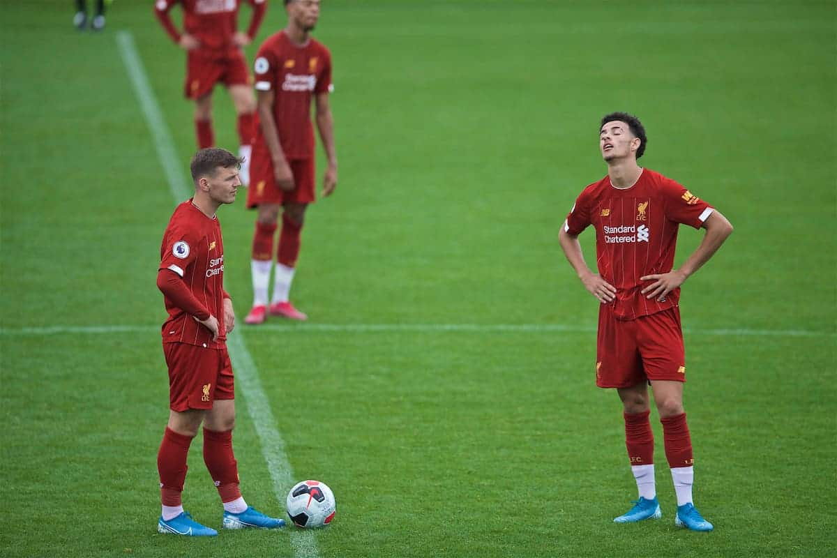 KIRKBY, ENGLAND - Saturday, August 10, 2019: Liverpool's substitute Bobby Duncan (L) and Curtis Jones look dejected as they kick off after Tottenham Hotspur's fourth goal during the Under-23 FA Premier League 2 Division 1 match between Liverpool FC and Tottenham Hotspur FC at the Academy. Tottenham Hotspur won 4-0. (Pic by David Rawcliffe/Propaganda)