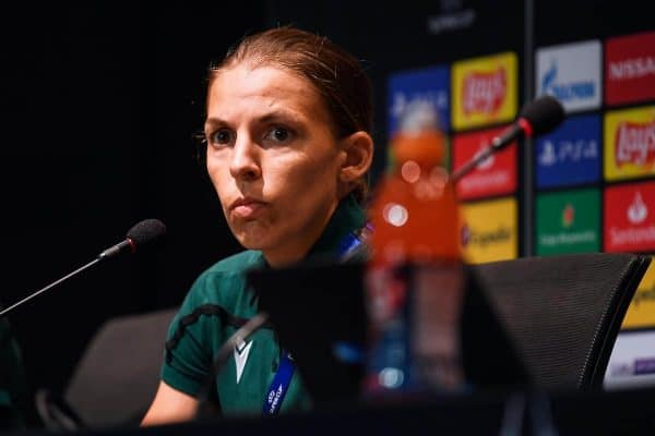 ISTANBUL, TURKEY - Tuesday, August 13, 2019: Referee Stephanie Frappart during a press conference ahead of the UEFA Super Cup match between Liverpool FC and Chelsea FC. (Pic by Handout/UEFA)
